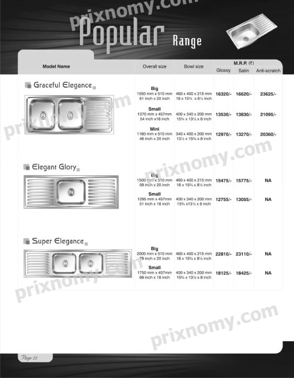 Nirali Kitchen Sinks price List 2014 | Prixnomy